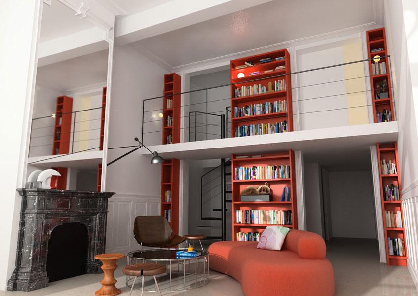 02-bibliothèque-appartement-montpellier-sophie-petit
